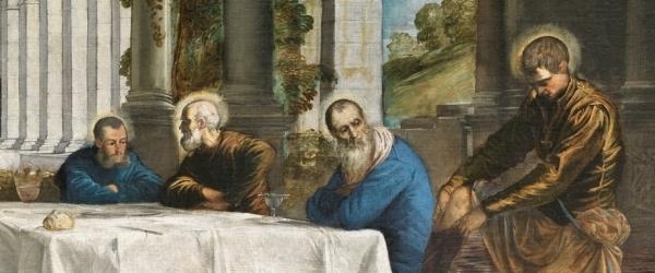 Tintoretto, Jacopo Robusti – El Lavatorio, 1548–1549. Óleo sobre lienzo. 210 x 533 cm. Museo Nacional del Prado, Madrid, España. Detalle.