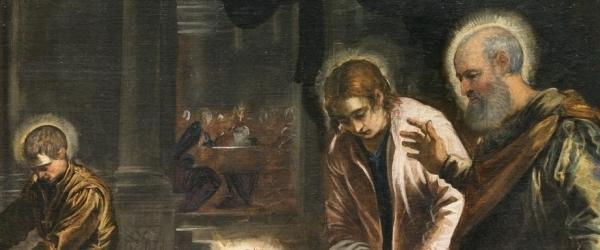 Tintoretto, Jacopo Robusti – El Lavatorio, 1548–1549. Óleo sobre lienzo. 210 x 533 cm. Museo Nacional del Prado, Madrid, España. Detalle. Y la fondo, una escena de lo que está por venir, lo que va a ocurrir en un futuro reciente, ya se está celebrando.