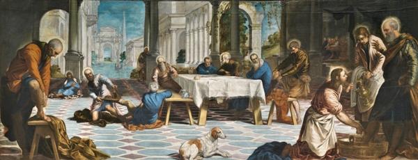 Tintoretto, Jacopo Robusti – El Lavatorio, 1548–1549. Óleo sobre lienzo. 210 x 533 cm. Museo Nacional del Prado, Madrid, España.