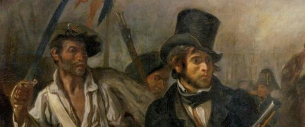 Eugène Delacroix – La Libertad guiando al pueblo (La Liberté guidant le peuple), 1830. Óleo sobre lienzo. 260 x 325 cm. Museo del Louvre, París, Francia. Detalle.
