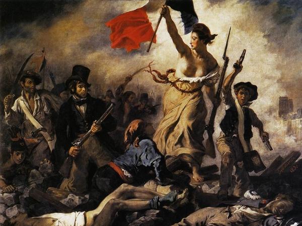 Eugène Delacroix – La Libertad guiando al pueblo (La Liberté guidant le peuple), 1830. Óleo sobre lienzo. 260 x 325 cm. Museo del Louvre, París, Francia.