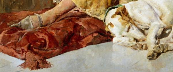 José Moreno Carbonero – El príncipe don Carlos de Viana, 1881. Óleo sobre lienzo. 310 x 242 cm. Museo del Prado, Madrid, España. Detalle del perro, el amigo fiel (y de su calzado).