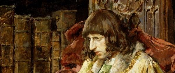 José Moreno Carbonero – El príncipe don Carlos de Viana, 1881. Óleo sobre lienzo. 310 x 242 cm. Museo del Prado, Madrid, España. Detalle