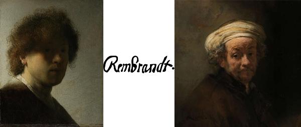 """Rembrandt van Rijn: """"Autorretrato"""", c 1628. – Su firma. – Y detalle de """"Autorretrato como el apóstol Pablo"""", 1661."""