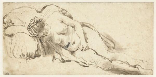 Rembrandt van Rijn - Mujer desnuda descansando sobre un cojín, c. 1658.