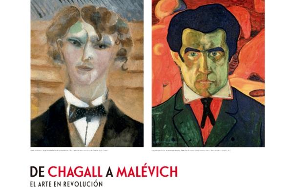 """Cartel de la exposición """"De Chagall a Malévich: el arte en revolución"""", en la Fundación Mapfre en la madrileña calle de Recoletos."""