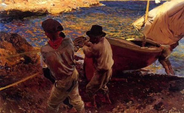 Joaquín Sorolla - Fin de la jornada, 1900. Óleo sobre lienzo. 88 x 128 cm.