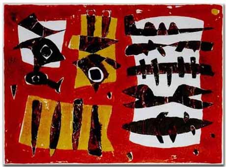 César Manrique - Objetos enterrados (1954). Monotipo. Fundación César Manrique, Lanzarote.