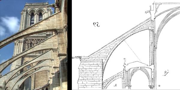 Notre Dame - Los arbotantes de la nave central de Nuestra Señora de París, datan del año 1230.