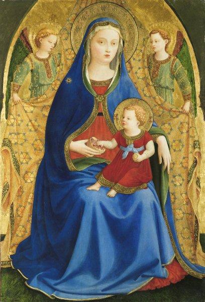 Fra Angelico – La Virgen de la granada, h. 1426. Temple sobre tabla. 87 x 59 cm. Museo del Prado.