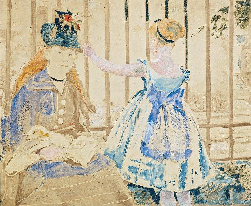 Édouard Manet - El ferrocarril, 1873-1874. Acuarela y gouache sobre fotografía de Anatole Godet (papel a la albúmina). 18,9 x 22,7 cm. © Colección privada.