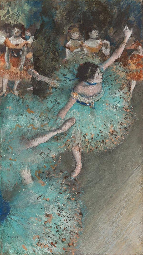 Edgar Degas - Bailarina basculando (Bailarina verde), 1877-79. Pastel y gouache sobre papel. 64 x 36 cm. © Museo Nacional Thyssen-Bornemisza, Madrid.
