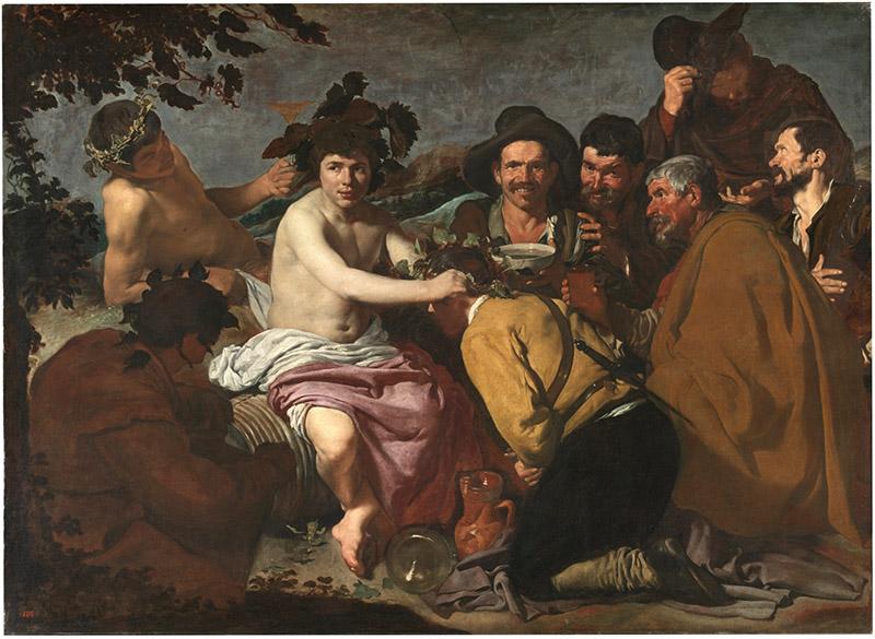 Diego Velázquez – Los Borrachos, o El triunfo de Baco, 1628 - 1629. Óleo sobre lienzo. 165 × 225 cm. Museo Nacional del Prado, Madrid.
