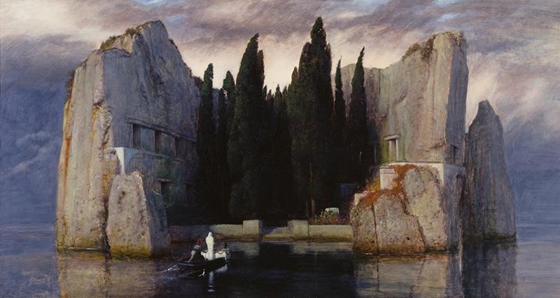 """Arnold Böcklin – La isla de los muertos III, 1883. Óleo sobre tabla, 80 x 150 cm, Antigua Galería Nacional de Berlín. Arnold Böcklin, figura clave del simbolismo, pintó una serie de """"La isla de los muertos"""", considerada su obra maestra."""