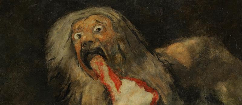 Francisco de Goya y Lucientes – Saturno devorando a su hijo (detalle), 1820 - 1823. Técnica mixta sobre revestimiento mural trasladado a lienzo, 143,5 x 81,4 cm. Museo Nacional del Prado, sala 067, Madrid.