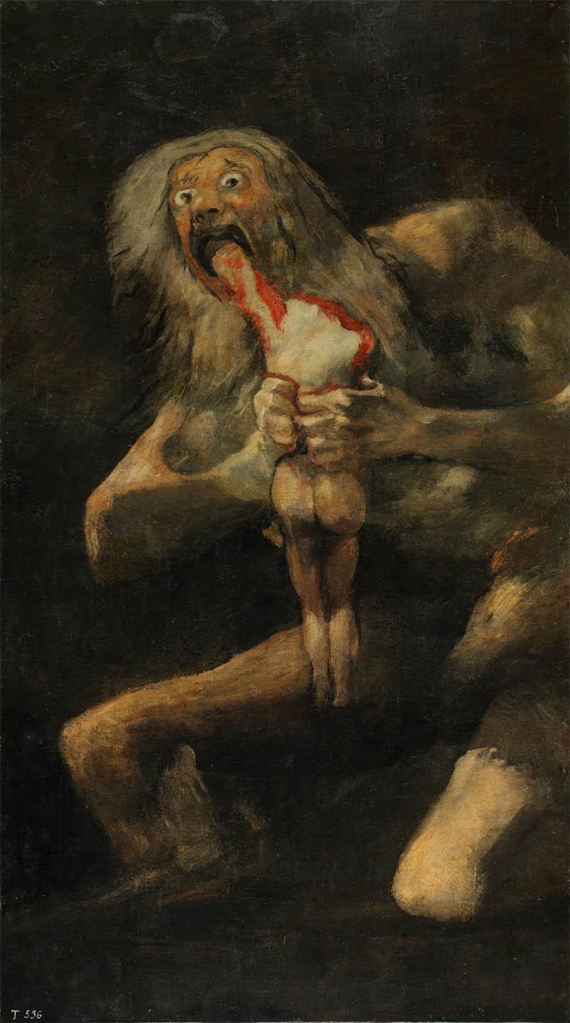 Francisco de Goya y Lucientes – Saturno devorando a su hijo, 1820 - 1823. Técnica mixta sobre revestimiento mural trasladado a lienzo, 143,5 x 81,4 cm. Museo Nacional del Prado, sala 067, Madrid.