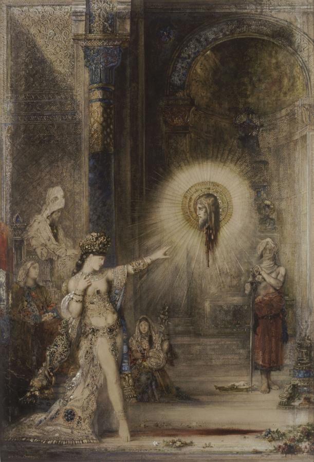 Gustave Moreau - La Aparición. Acuarela. 106 x 72,2 cm. París, museo de Orsay, conservado en el departamento de Artes Gráficas del museo del Louvre. Moreau es considerado el padre del Simbolismo pictórico.