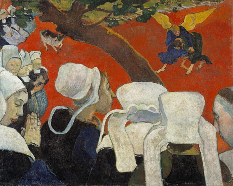 """Gauguin – La visión tras el sermón (La vision après le sermon), 1888. Óleo sobre lienzo, 73 x 92 cm, Galería Nacional de Escocia, Edimburgo. Es una obra característica de la escuela de Pont-Aven, nos muestra a Jacob luchando contra el ángel. Gauguin lo pintó para una parroquia de la zona, pero el párroco la rechazó; según Gauguin, pretende representar la """"simplicidad rústica y supersticiosa""""."""