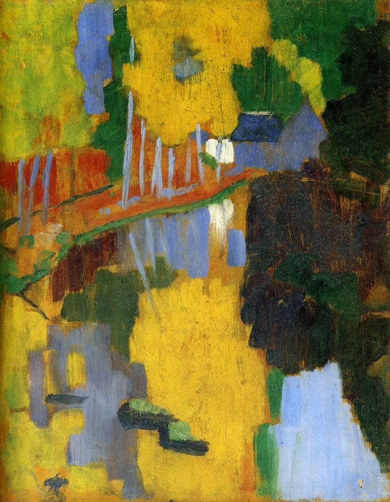 """Paul Sérusier – El Talismán (Le Talisman), 1888, óleo sobre madera. 27 x 21.5 cm. Musée d'Orsay, París. El verano de 1888 Paul Sérusier coincide con Paul Gauguin en Pont-Aven y allí pinta esta obra, influenciado por el consejo de Gauguin: """"Si ves amarillo, elige el amarillo más estridente que tengas en la paleta y aplícalo al cuadro"""". Pintada sobre una caja de cerillas que Gauguin le dio para que pintase sobre ella lo que quisiera, sin necesidad de ajustarse a la realidad. Su nombre viene de la expectación que causó a su vuelta a París, porque lo enseñaban como si fuera un tesoro."""