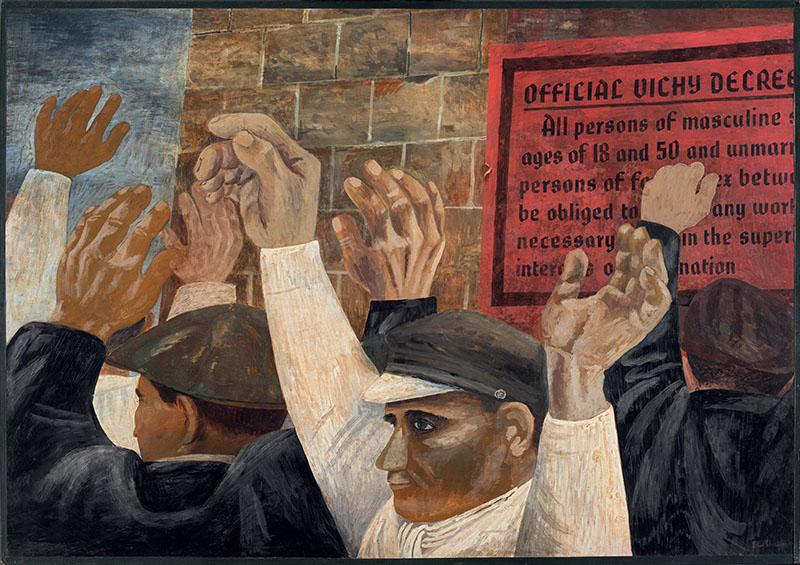 Ben Shahn – Obreros franceses, 1942. Temple sobre cartón. 101,6 x 144,8 cm. Museo Nacional Thyssen-Bornemisza, Madrid. Nº INV. 753 (1975.34). No Expuesta. Otro caso de la influencia de la política en el arte, un claro ejemplo de realismo socialista.
