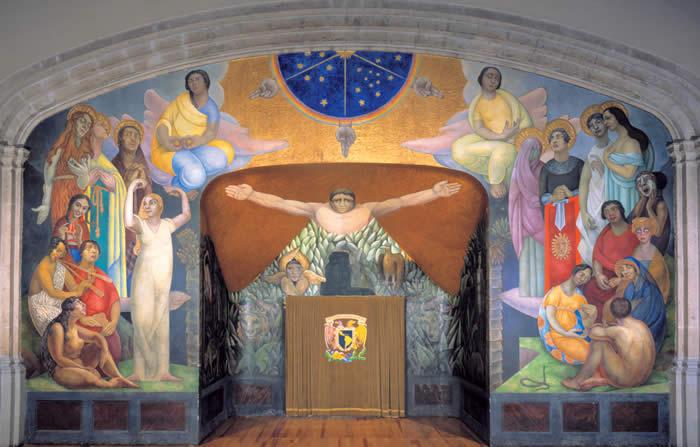 Diego de Rivera - La Creación, 1922. Un claro ejemplo de arte de realismo socialista en México. Diego Rivera pintó su primer mural en el interior del Anfiteatro Simón Bolívar en 1922. La Creación fue realizada a la encáustica (técnica a base de resina de copal emulsionada con cera de abeja y una mezcla de pigmentos fundidos con fuego directo).