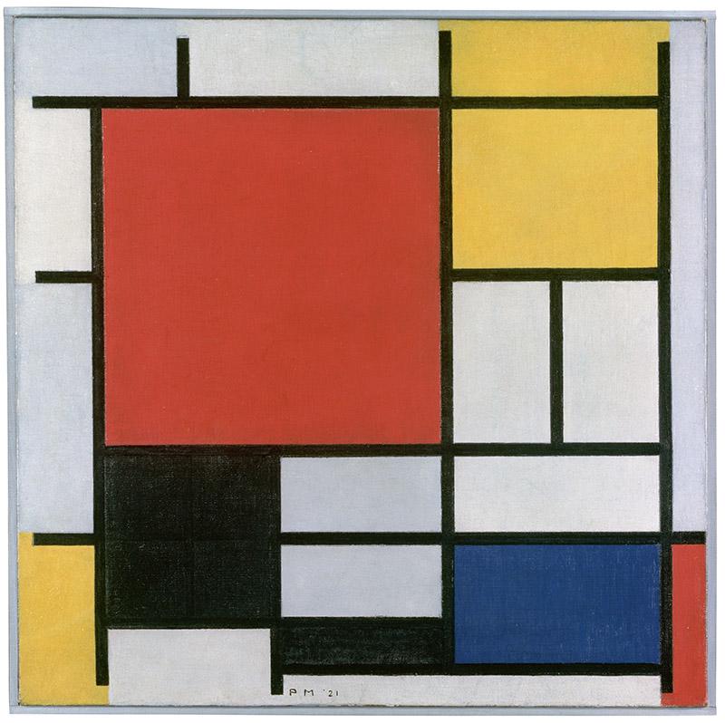 Piet Mondrian - Composición en rojo, amarillo, azul, blanco y negro, 1921