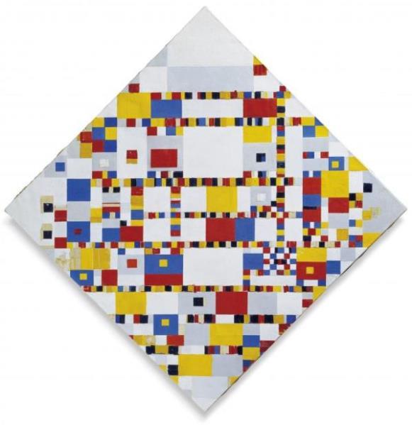 Piet Mondrian - Victory Boogie Woogie, 1942-1944. Es la última e inacabada obra de Piet Mondrian, quedó incompleta en 1944, por el fallecimiento del artista.
