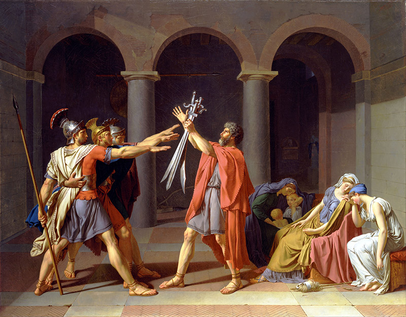 Jacques-Louis David – El Juramento de los Horacios 1784. Óleo sobre lienzo. 330 × 425 cm. Museo del Louvre, París.