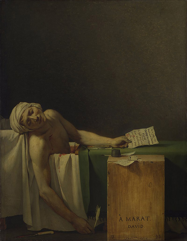 Jacques-Louis David – La muerte de Marat, 1793. Óleo sobre lienzo. 165 x 128 cm. Museos Reales de Bellas Artes de Bélgica, en Bruselas.