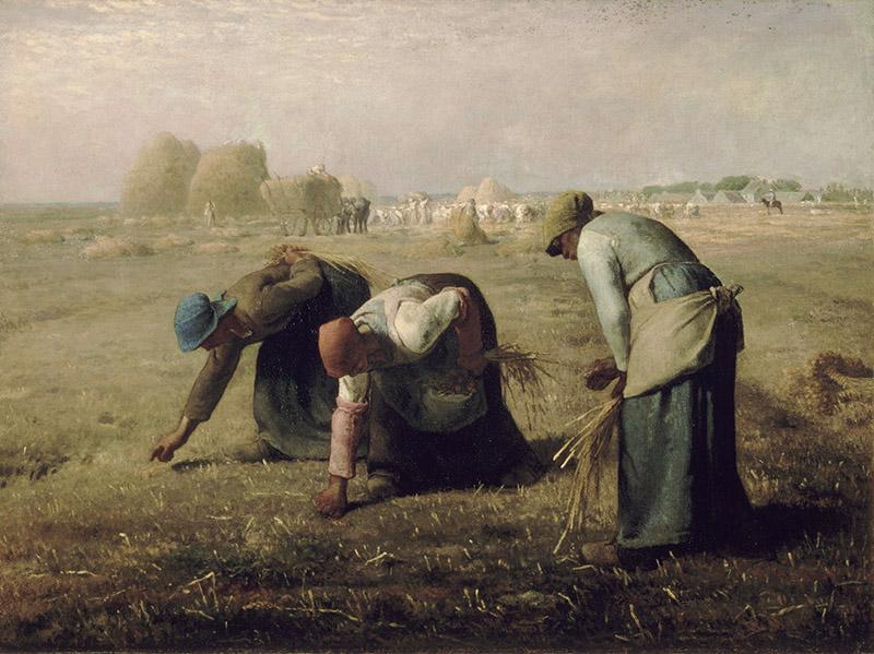 """Jean-François Millet – Las espigadoras (Des glaneuses), 1857. Óleo sobre lienzo. 83,5 × 110 cm. Museo de Orsay, París. Un ejemplo del realismo en la obra de Millet, de su pintura """"sosegada""""."""