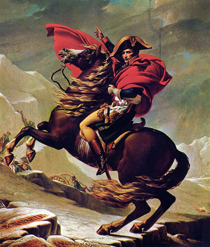 Jacques Louis David – Napoleón cruzando los Alpes (Napoléon franchissant les Alpes), 1801. Óleo sobre lienzo. 260 cm × 221 cm. Palacio de Charlottenburg, Berlín.